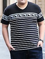 cheap -Men's T shirt Stripes Stylish Short Sleeve Daily Tops Ordinary Royal Blue Black