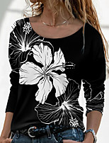 cheap -Women's Floral Theme Painting T shirt Floral Graphic Long Sleeve Print Round Neck Basic Tops Regular Fit Blue Purple Green / 3D Print