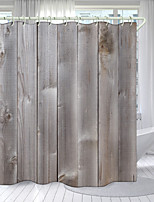 cheap -Retro HD Wood Board Series Digital Printing Shower Curtain Shower Curtains  Hooks Modern Polyester New Design