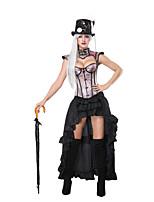 cheap -Women's Sexy Steampunk Plain Halloween Carnival Two Piece Set Corset Skirt Ruffle Tops