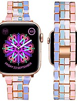 cheap -watch band compatible with apple watch 38mm 40mm colorful solid stainless steel metal fashion wristband bracelet women strap for iwatch series se/6/5/4/3/2/1 (light multicolor,38/40mm)