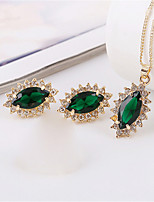 cheap -Women's Emerald Bridal Jewelry Sets Geometrical Drop Fashion Earrings Jewelry Gold For Party Daily Festival 1 set