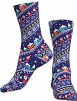 cheap -Socks Cycling Socks Men's Women's Bike / Cycling Breathable Soft Comfortable 1 Pair Santa Claus Cotton Blue S M L / Stretchy