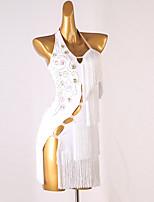 cheap -Latin Dance Dress Tassel Crystals / Rhinestones Women's Training Sleeveless High Spandex