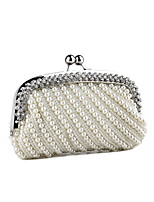 cheap -Women's Bags Polyester Evening Bag Pearls Chain Plain Party / Evening Daily Retro Evening Bag Chain Bag White Beige