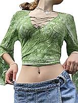 cheap -women 's graphic t-shirt y2k flare sleeve tie-dye print crop top shirt blouse fairy grunge steetwear (lace green, medium)