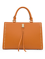 cheap -Women's Bags PU Leather Top Handle Bag Zipper Solid Color Date Office & Career Handbags Yellow White Black Red