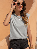 cheap -Women's Tee / T-shirt Crew Neck Solid Color Sport Athleisure T Shirt Top Sleeveless Breathable Soft Comfortable Everyday Use Street Casual Daily Outdoor / Summer