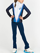 cheap -Figure Skating Jacket with Pants Women's Girls' Ice Skating Top Bottoms Blue Patchwork Spandex High Elasticity Training Competition Skating Wear Patchwork Long Sleeve Ice Skating Figure Skating