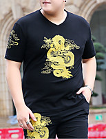 cheap -Men's T shirt Dragon Embroidered Stylish Short Sleeve Daily Tops Ordinary Black