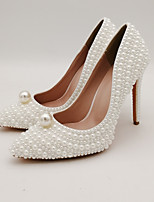 cheap -Women's Wedding Shoes Stiletto Heel Pointed Toe Wedding Pumps Party Wedding PU Pearl Imitation Pearl Solid Colored Color Block White Beige