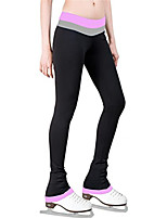 cheap -Figure Skating Pants Women's Girls' Ice Skating Tights Leggings Purple Yellow Fuchsia Fleece Spandex High Elasticity Training Practice Competition Skating Wear Thermal Warm Patchwork Ice Skating