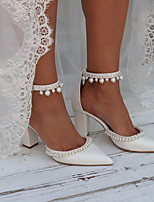 cheap -Women's Wedding Shoes Chunky Heel Pointed Toe Wedding Pumps Wedding Daily Faux Leather Rhinestone Pearl Solid Colored White