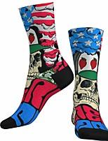 cheap -Socks Cycling Socks Men's Women's Bike / Cycling Breathable Soft Comfortable 1 Pair Skull Cotton Blue S M L / Stretchy
