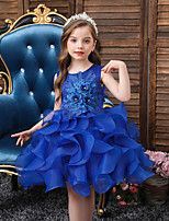 cheap -Kids Little Girls' Dress Solid Colored Party Daily Pleated Blushing Pink Royal Blue Knee-length Sleeveless Princess Sweet Dresses Fall Winter