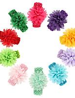 cheap -10 pcs/set Baby Knitted Headband Chiffon Flower Headband 4.5cm Baby Headband Hair Accessories