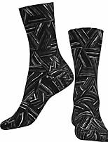 cheap -Socks Cycling Socks Men's Women's Bike / Cycling Breathable Soft Comfortable 1 Pair Geometric Cotton Black S M L / Stretchy