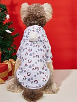 cheap -Dog Cat Hoodie Hooded Shirts Dog clothes Penguin Christmas Tree Ordinary Casual / Sporty Christmas Casual / Daily Winter Dog Clothes Puppy Clothes Dog Outfits Warm White Costume for Girl and Boy Dog