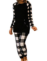 cheap -Women's Suits Pajamas Home Daily Bed Print Grid / Plaid Polyester Simple Fashion Fall Winter Crew Neck Long Sleeve