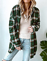 cheap -Women's Jacket Street Daily Going out Fall Winter Regular Coat Single Breasted Turndown Regular Fit Warm Breathable Casual Jacket Long Sleeve Plaid / Check Pocket Print Green Brown
