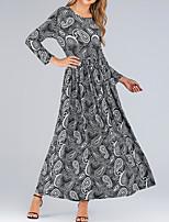 cheap -Women's Swing Dress Maxi long Dress Grey print Long Sleeve Drink Print Fall Winter Round Neck Elegant Vacation 2021 L XL 2XL 3XL 4XL 5XL