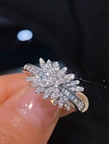 cheap -Women Ring AAA Cubic Zirconia Geometrical Silver Brass Floral Theme Luxury Elegant Fashion 1pc / Women's