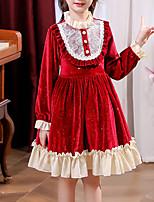 cheap -Kids Little Girls' Dress Patchwork Party Birthday Ruffle Patchwork Blue Red Knee-length Long Sleeve Princess Sweet Dresses Fall Winter Regular Fit 3-12 Years / Spring
