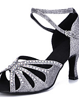 cheap -Women's Latin Shoes Professional Heel Rhinestone High Heel Open Toe Gray Silver Gold Buckle Adults' Glitter Crystal Sequined Jeweled / Performance