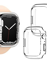 cheap -[2 pack]  compatible for apple watch case series 7 45mm,hard pc edge bumper case protective cover frame compatible for iwatch series 7 45mm (clear+clear, 45mm)