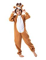 cheap -Kid's Kigurumi Pajamas Nightwear Reindeer Rudolph Rudolph Onesie Pajamas Flannelette Khaki Cosplay For Boys and Girls Animal Sleepwear Cartoon Festival / Holiday Costumes