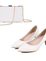 cheap -Women's Heels Wedding Shoes Pumps Pointed Toe Wedding Pumps Party Wedding PU Rivet Solid Colored White