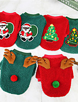 cheap -Dog Cat Sweater Christmas Costume Santa Claus Merry Christmas Christmas Tree Santa Claus Adorable Cute Christmas Dailywear Winter Dog Clothes Puppy Clothes Dog Outfits Breathable Green / Red Red