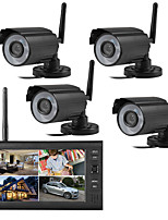 cheap -4CH NVR Video Surveillance Kit CCTV Wireless System Audio Record Outdoor AHD 720P Security Camera Set
