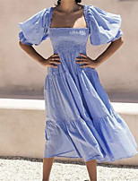 cheap -Women's A Line Dress Knee Length Dress Blue Short Sleeve Solid Color Ruffle Patchwork Spring Summer Square Neck Casual Regular Fit 2021 S M L