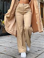 cheap -Women's Fashion Streetwear Comfort Chinos Casual Weekend Pants Plain Full Length Novelty Khaki