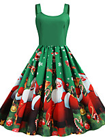 cheap -Santa Suit Dress Adults' Women's Vintage Christmas Festival Christmas New Year Festival / Holiday Terylene Red+Black / Blue / Red Women's Easy Carnival Costumes Snowflake Reindeer
