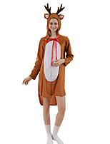 cheap -Adults' Kigurumi Pajamas Nightwear Reindeer Rudolph Onesie Pajamas polyester fibre Khaki Cosplay For Men and Women Animal Sleepwear Cartoon Festival / Holiday Costumes