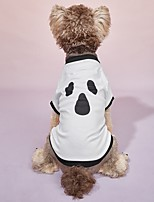 cheap -Dog Cat Halloween Costumes Shirt / T-Shirt Holiday Decorations Vampires Cosplay Funny Halloween Festival Dog Clothes Puppy Clothes Dog Outfits Breathable White Costume for Girl and Boy Dog Polyester