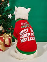 cheap -Dog Cat Shirt / T-Shirt Puppy Clothes Dog clothes Word / Phrase Sweet Christmas Festival Dog Clothes Puppy Clothes Dog Outfits Warm Red Costume for Girl and Boy Dog Polyester S M L