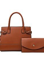 cheap -Women's Bags PU Leather Tote Bag Set Top Handle Bag 2 Pieces Purse Set Zipper Solid Color Shopping Daily Bag Sets Handbags Brown