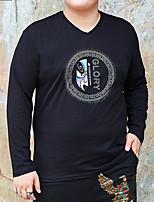 cheap -Men's T shirt Letter Stylish Long Sleeve Daily Tops Ordinary Black
