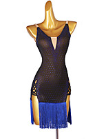 cheap -Latin Dance Dress Tassel Crystals / Rhinestones Women's Performance Sleeveless Chinlon