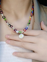 cheap -Beaded Necklace Women's Beads Flower Shape Colorful Holiday Casual / Sporty Cute Sweet Rainbow 40 cm Necklace Jewelry 1pc for Gift Holiday Prom Club Festival irregular