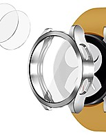 cheap -compatible with samsung galaxy watch 4 44mm case with built-in screen protector, premium soft tpu protective case, 360 all-around protective watch cover case (silver, watch4 44mm)