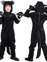 cheap -Kid's Kigurumi Pajamas Nightwear Cat Onesie Pajamas polyester fibre Black Cosplay For Boys and Girls Animal Sleepwear Cartoon Festival / Holiday Costumes