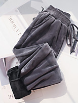 cheap -Women's Casual / Sporty Streetwear Comfort Chinos Casual Weekend Pants Plain Full Length Pocket Elastic Drawstring Design Gray White Black / Fleece Lining