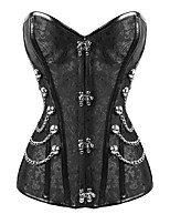 cheap -Women's Halloween Corset Plain Drawstring Zipper Strapless Vintage Sexy Punk & Gothic Tops Black