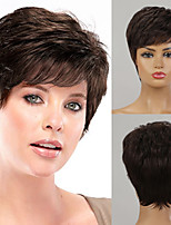 cheap -Human Hair Capless Wigs Human Hair Straight Natural Straight Bob Pixie Cut Layered Haircut Asymmetrical Style Women Fashion Natural Hairline Brown Short Capless Wig Women's All