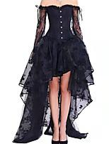 cheap -Women's Sexy Steampunk Floral Halloween Carnival Two Piece Set Corset Skirt Drawstring Print Tops