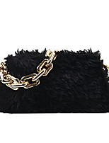 cheap -Women's Bags Faux Fur Top Handle Bag Zipper Solid Color Vintage Daily Outdoor Retro Handbags Chain Bag Khaki White Black